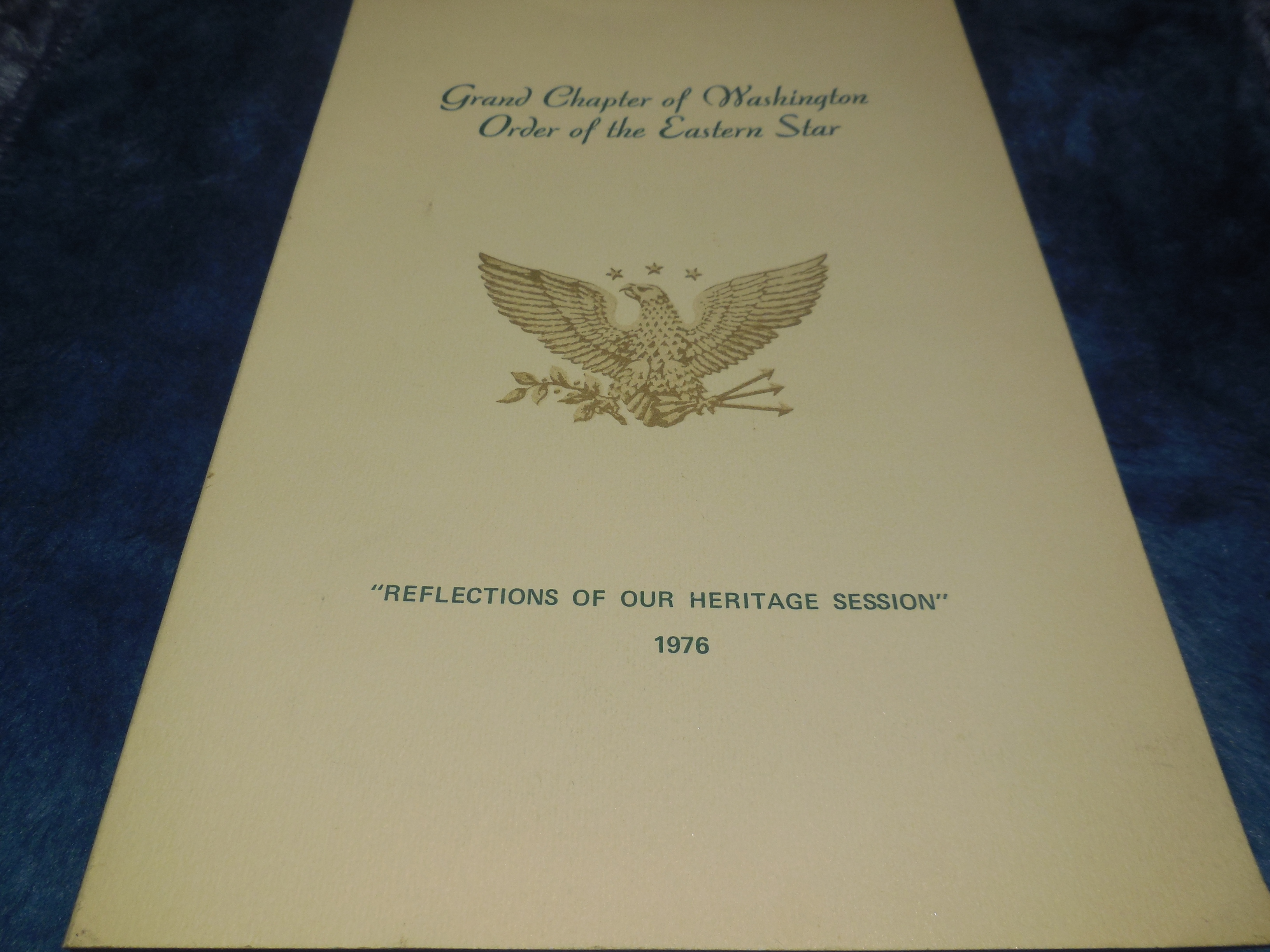 "Image for Proceedings of the Grand Chapter of Washington Order of the Eastern Star ""Reflections of Our Heritage Session"" 1976"