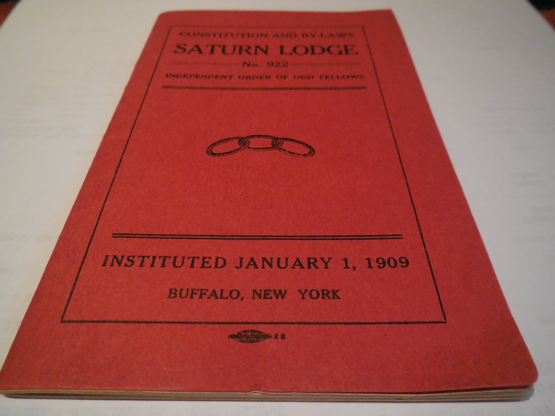 Image for Constitution and By-Laws Saturn Lodge No. 922, Independent Order of Odd Fellows